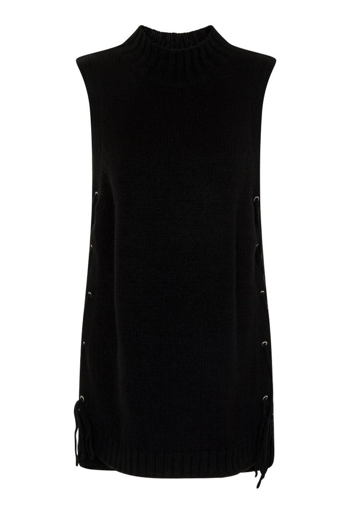 London Rebel | Black Cornwall Sleeveless Knit Vest | Front View