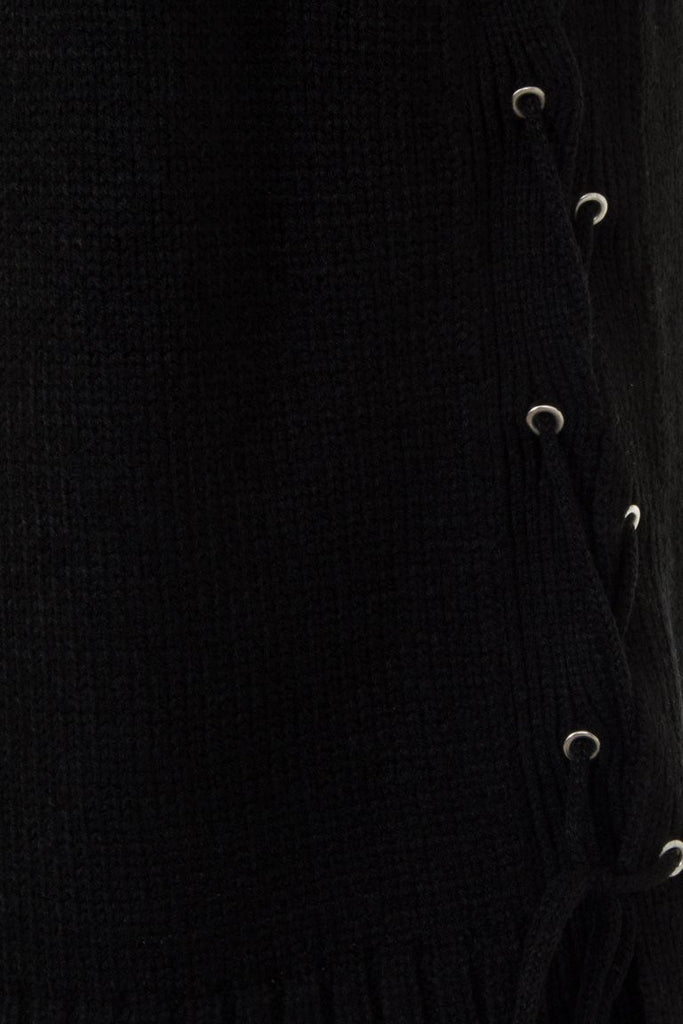 London Rebel | Black Cornwall Sleeveless Knit Vest | Front View Close Up