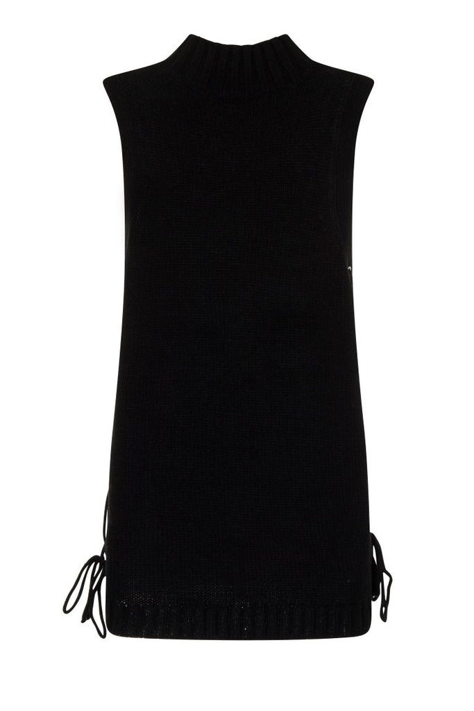 London Rebel | Black Cornwall Sleeveless Knit Vest | Back View