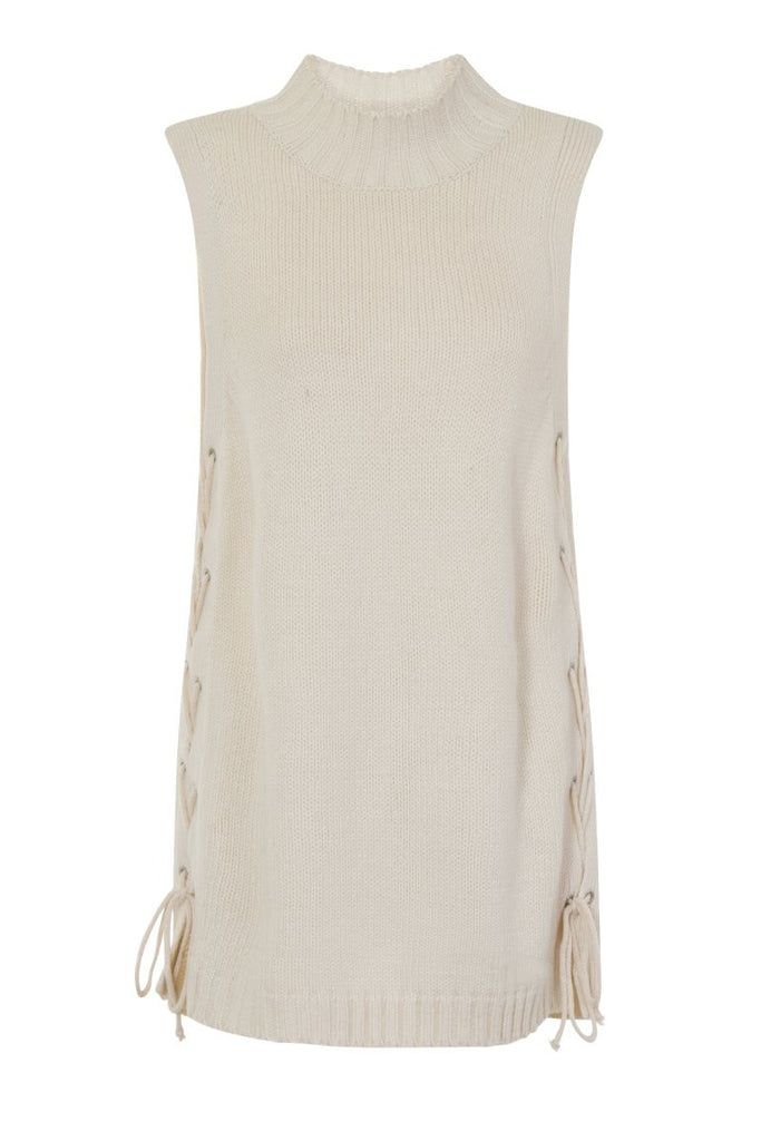 London Rebel | Ecru Cornwall Sleeveless Knit Vest | Front View
