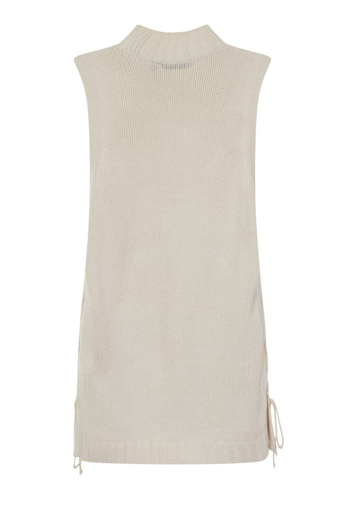 London Rebel | Ecru Cornwall Sleeveless Knit Vest | Back View