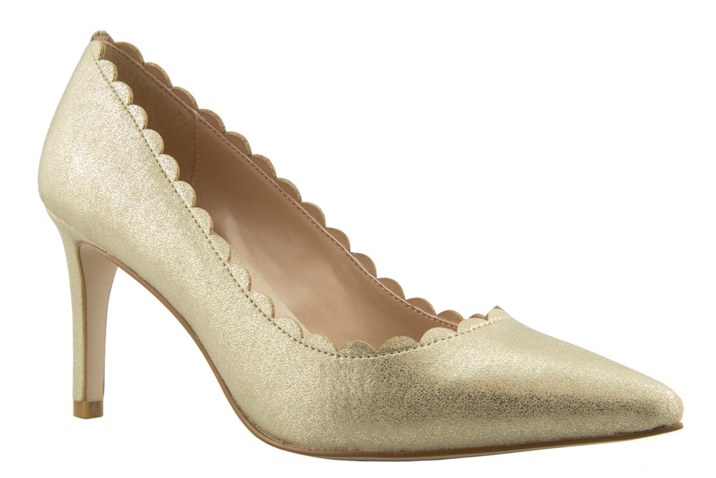 London Rebel | Suzy Gold Scalloped Suedette Court Shoe | Side View