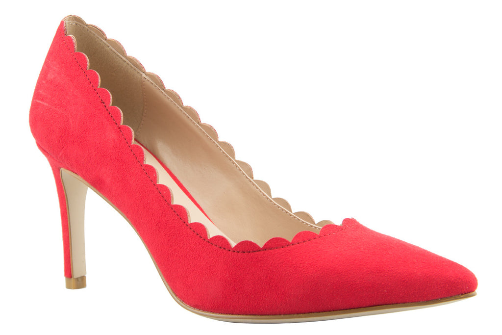 Suzy Red Scalloped Suedette Court Shoe