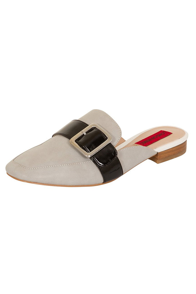 London Rebel | Coach Grey Suede Effect Slip On Slipper Shoe | Front Three Quarter