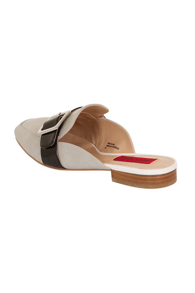 London Rebel | Coach Silver Suede Effect Slip On Slipper Shoe | Back Three Quarter