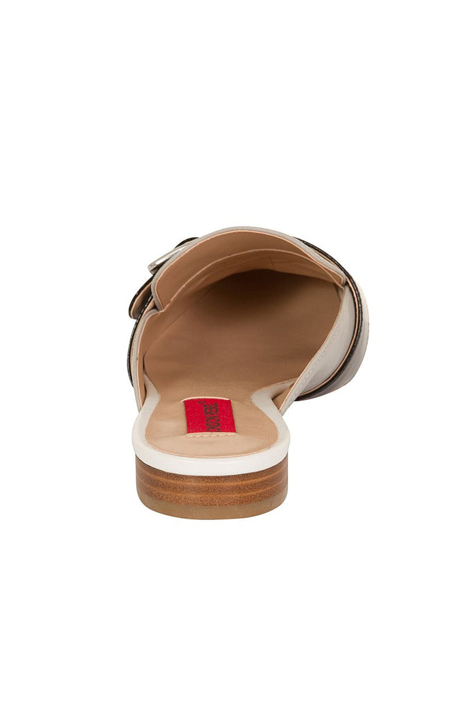 London Rebel | Coach Silver Suede Effect Slip On Slipper Shoe | Back View
