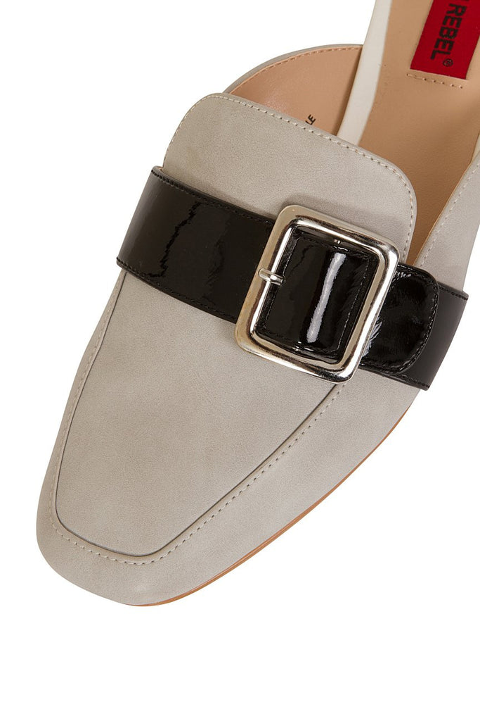 London Rebel | Coach Silver Suede Effect Slip On Slipper Shoe | Front Three Quarter Close Up