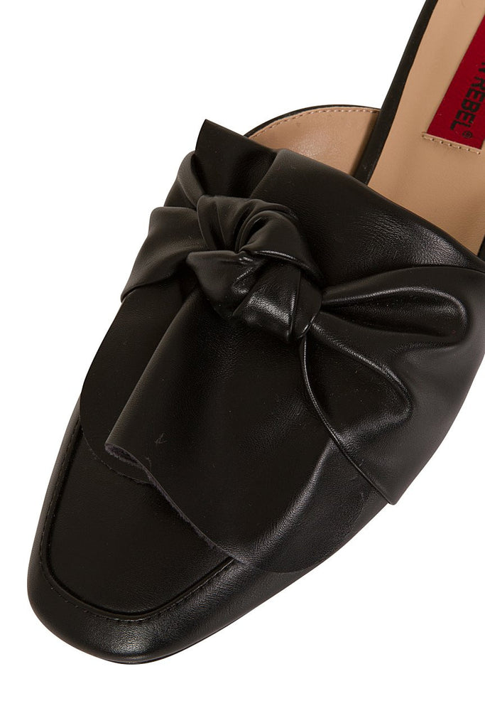 London Rebel | Grace Black Leather Look Slip On Slipper Shoe | Front Three Quarter Close Up