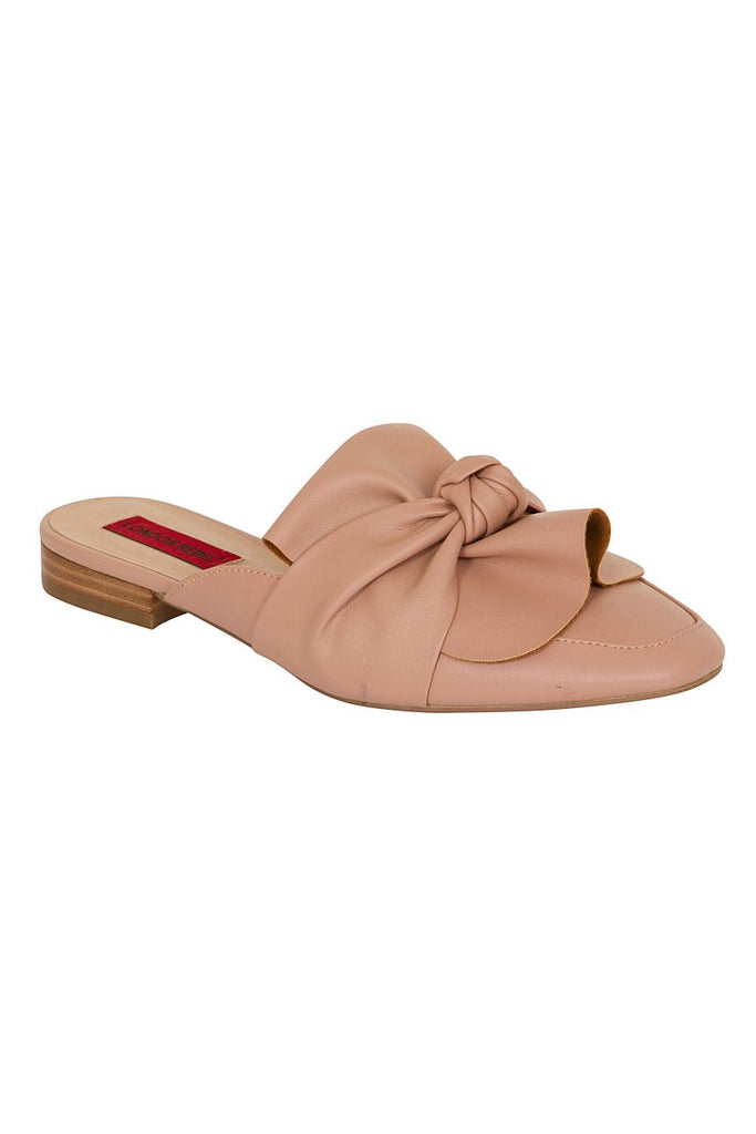 London Rebel | Grace Pink Leather Look Slip On Slipper Shoe | Front Three Quarter