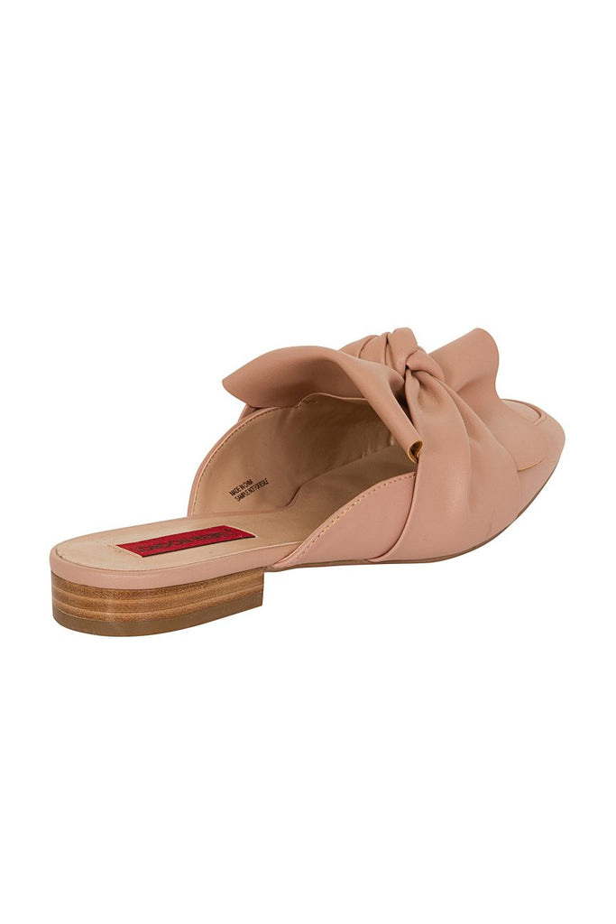 London Rebel | Grace Pink Leather Look Slip On Slipper Shoe | Back Three Quarter