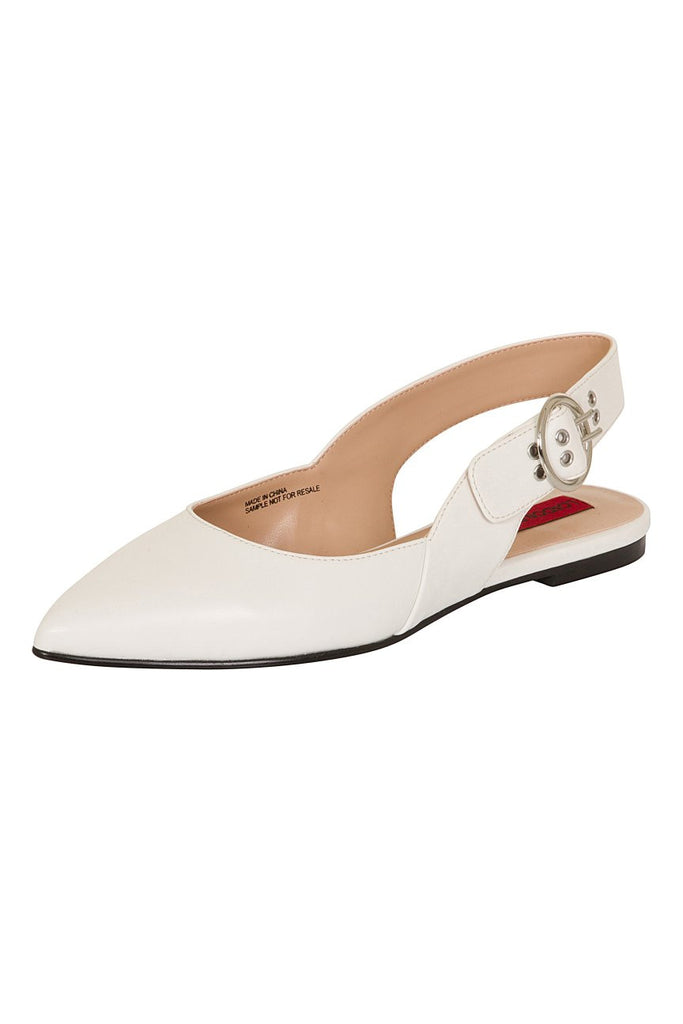 London Rebel | Cruise White Leather Look Flat Slingback | Front Three Quarter