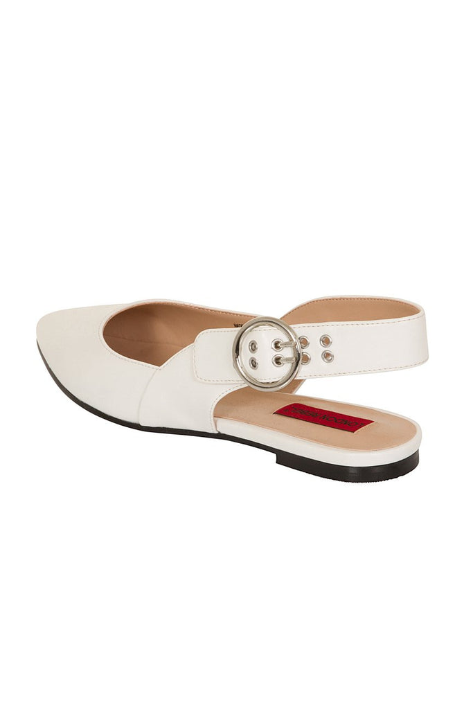 London Rebel | Cruise White Leather Look Flat Slingback | Back Three Quarter