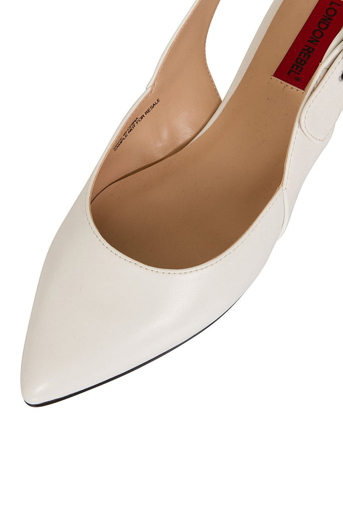 London Rebel | Cruise White Leather Look Flat Slingback | Front Three Quarter Close Up