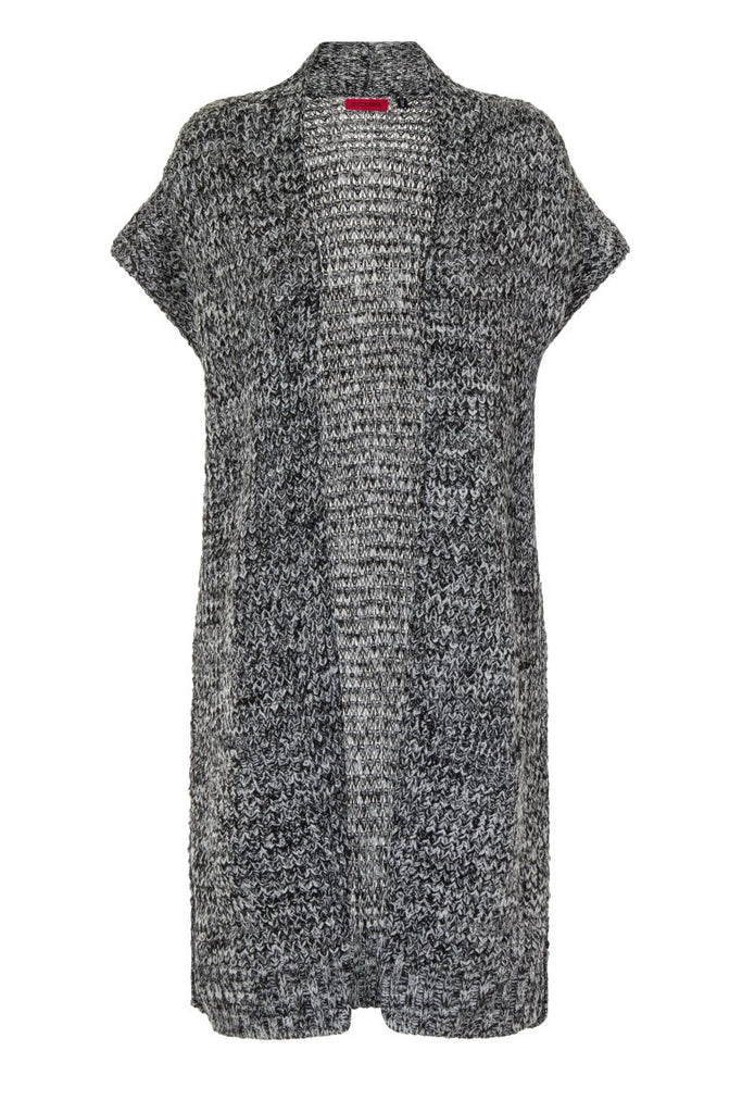 London Rebel | Charcoal Cheryl Sleeveless Cardigan | Front View