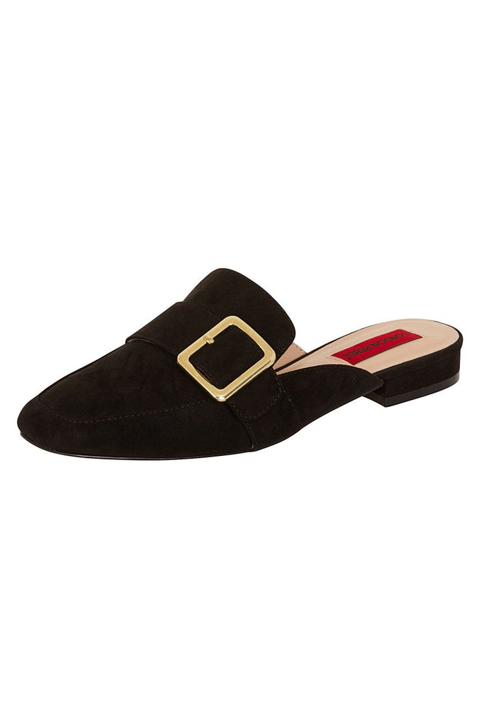 London Rebel | Coach Black Suede Effect Slip On Slipper Shoe | Front Three Quarter