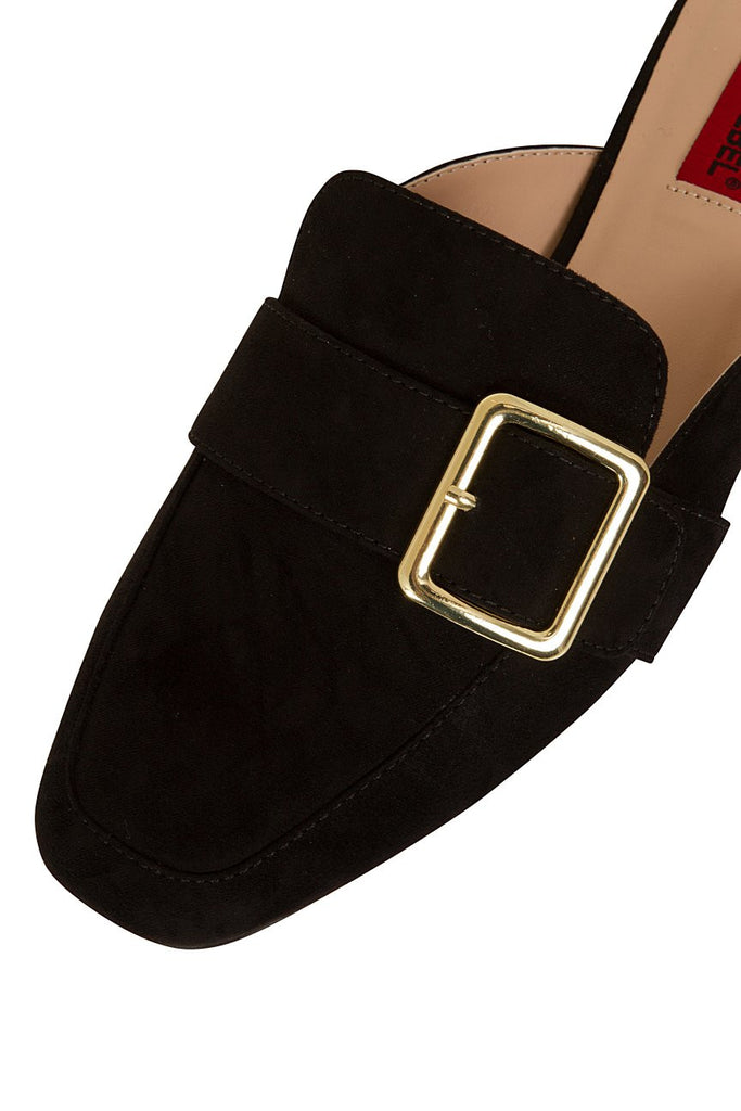 London Rebel | Coach Black Suede Effect Slip On Slipper Shoe | Front Three Quarter Close Up