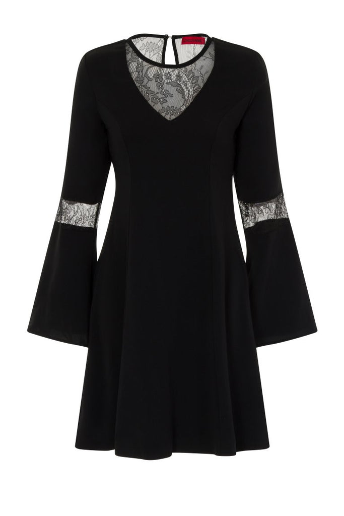 London Rebel | Aria A-Line Dress with Bell Sleeves | Front View