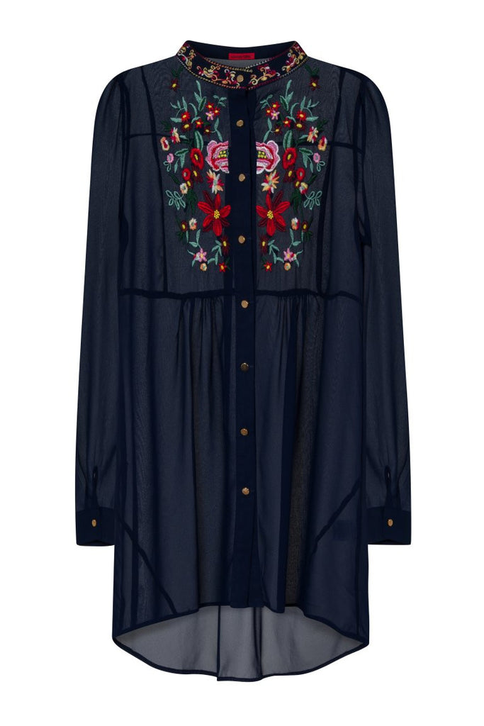 London Rebel | Mel Embroidered Navy Blouse | Front View