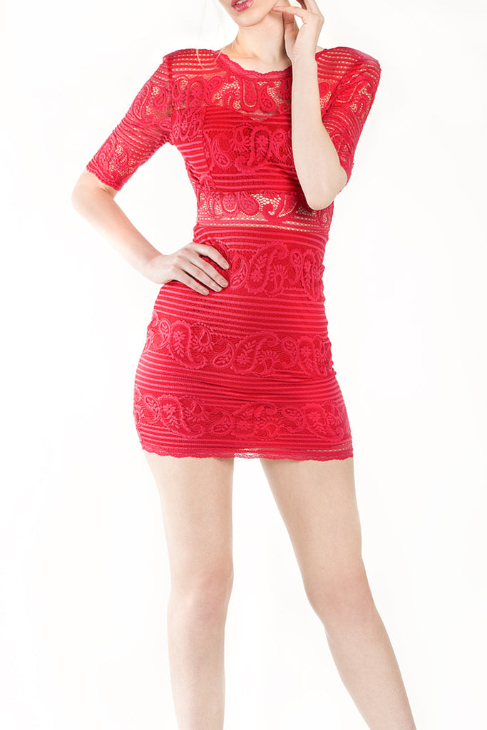London Rebel | Lacey Coral Bodycon Mini Dress | Lifestyle Image Close Up