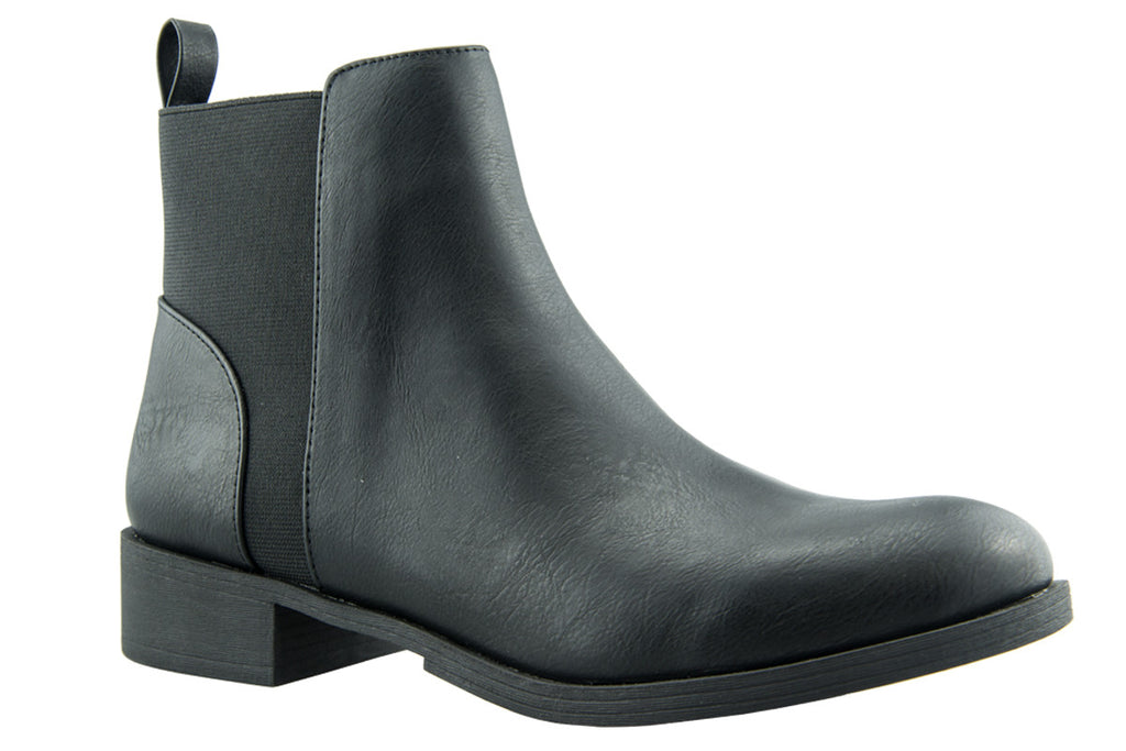 London Rebel | Lila Black Leather Look Ankle Boot | Front Three Quarter