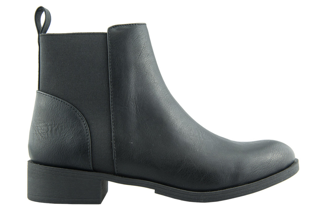 London Rebel | Lila Black Leather Look Ankle Boot | Side View