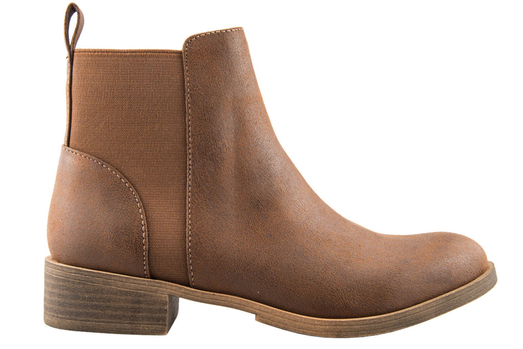 Lila Tan Leather Look Ankle Boot