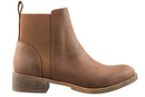 London Rebel | Lila Tan Leather Look Ankle Boot | Side View