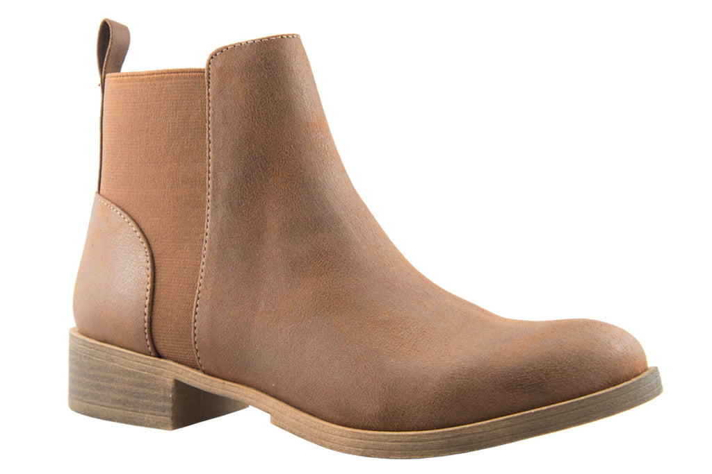 London Rebel | Lila Tan Leather Look Ankle Boot | Front Three Quarter