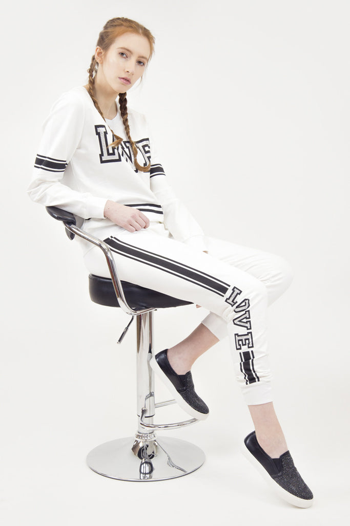 London Rebel | Love White Tracksuit Top | Lifestyle Image