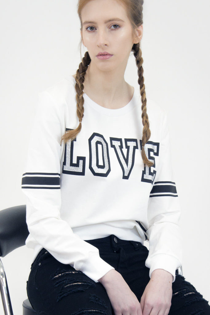 London Rebel | Love White Tracksuit Top | Lifestyle Image Close Up