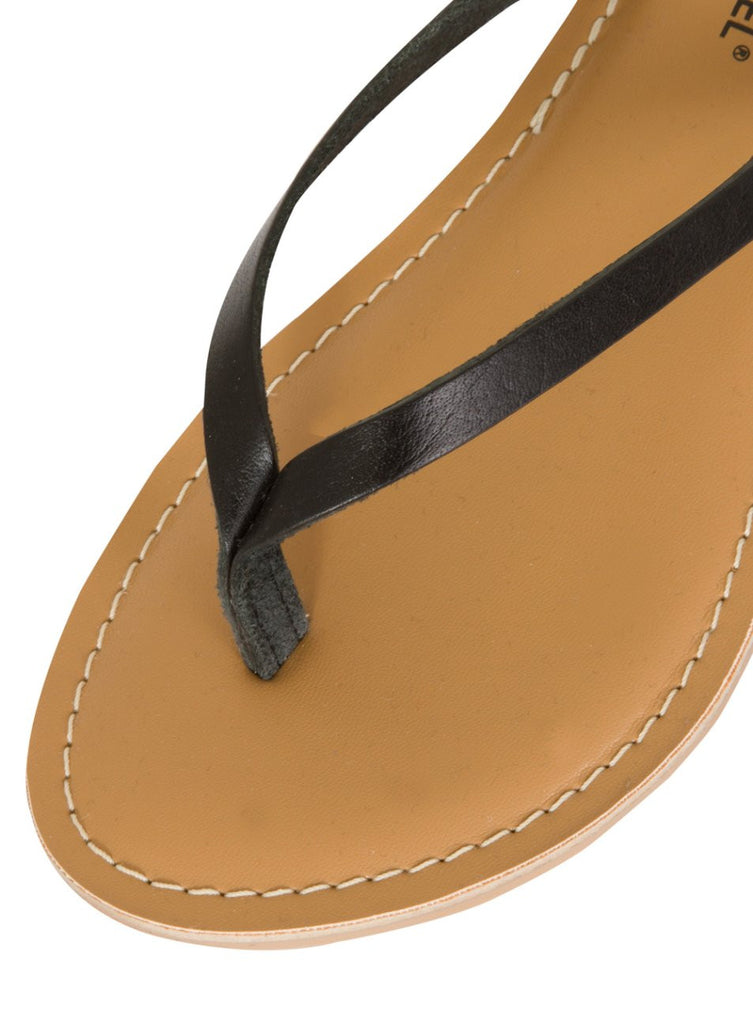 Indigo Black Real Leather Basic Flip Flop