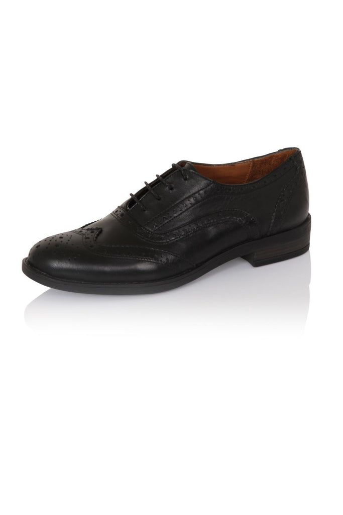 London Rebel | Lucky Black Lace Up Brogue | Front Three Quarter