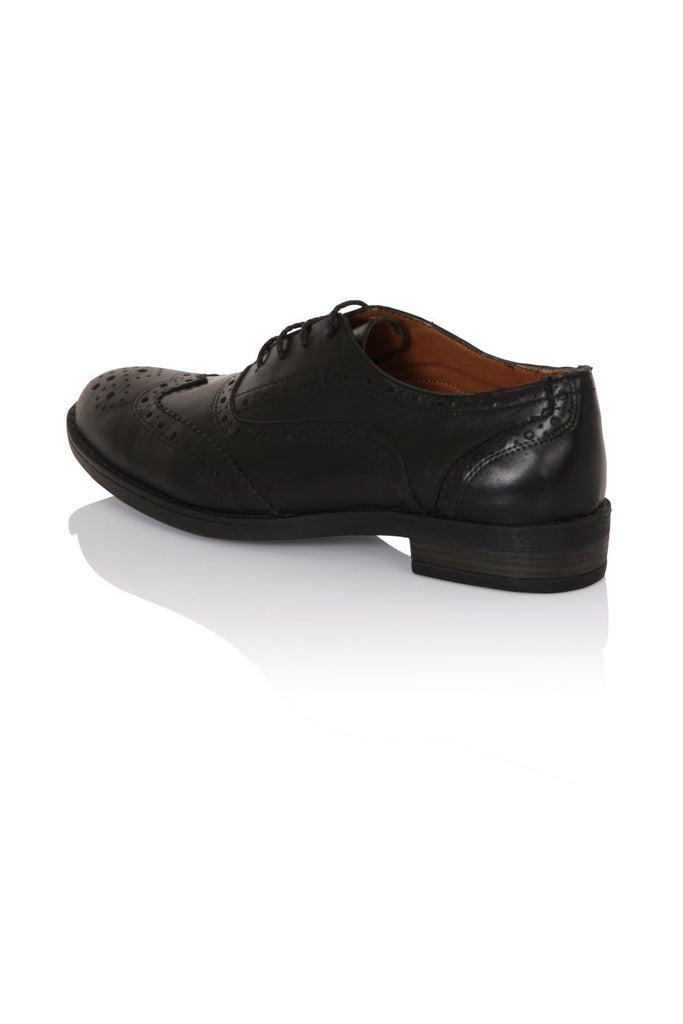 London Rebel | Lucky Black Lace Up Brogue | Back Three Quarter