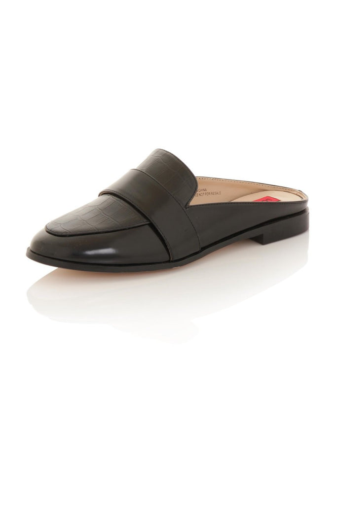 London Rebel | Lucy Black Slipper Shoe | Front Three Quarter