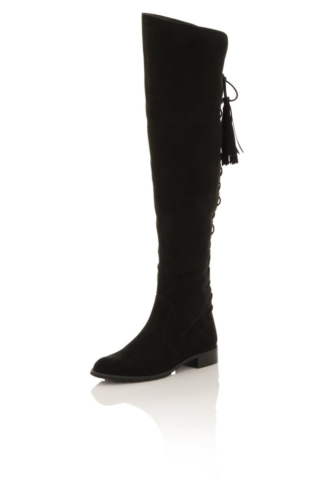 London Rebel | Megan Suede Effect Rider Boots | Front Three Quarter