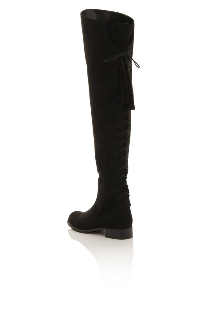 London Rebel | Megan Suede Effect Rider Boots | Back Three Quarter