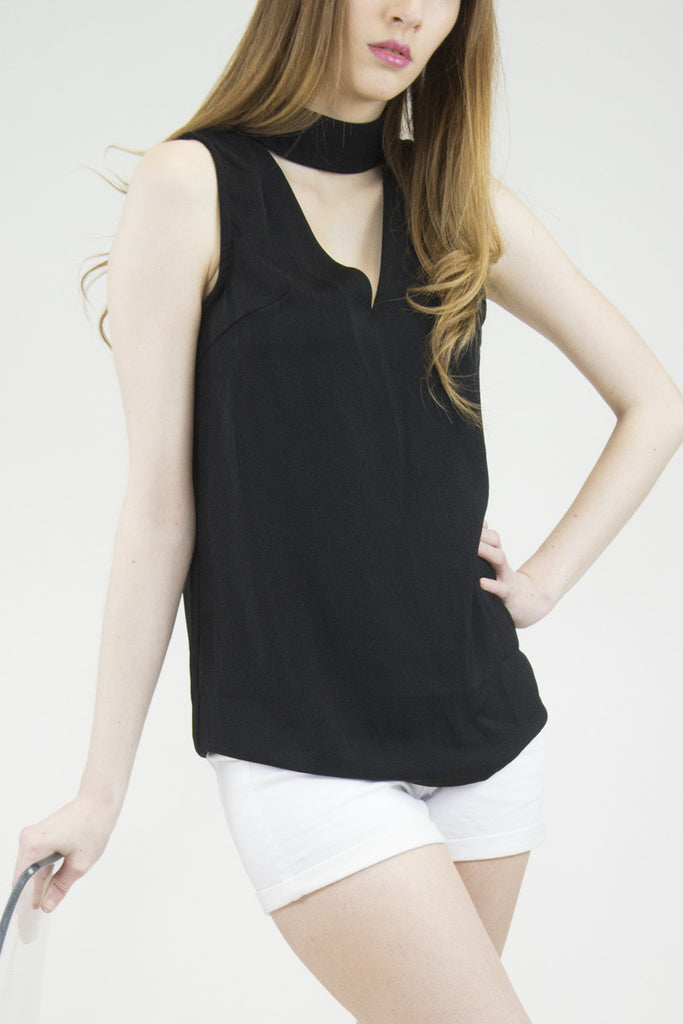 London Rebel | Melissa Black High Collar Sleeveless Blouse | Lifestyle Image Close Up