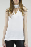 London Rebel | Melissa White High Collar Sleeveless Blouse | Lifestyle Image Close Up