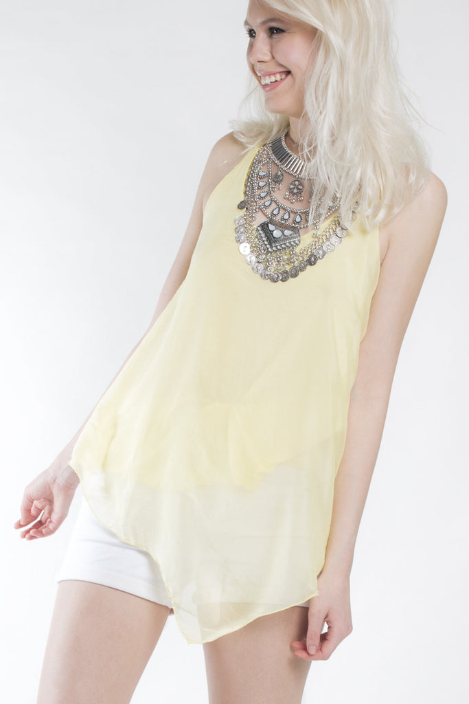 London Rebel | Mellow Yellow String Camisole Top | Lifestyle Image Close Up