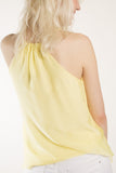 London Rebel | Mellow Yellow String Camisole Top | Lifestyle Image Back Close Up