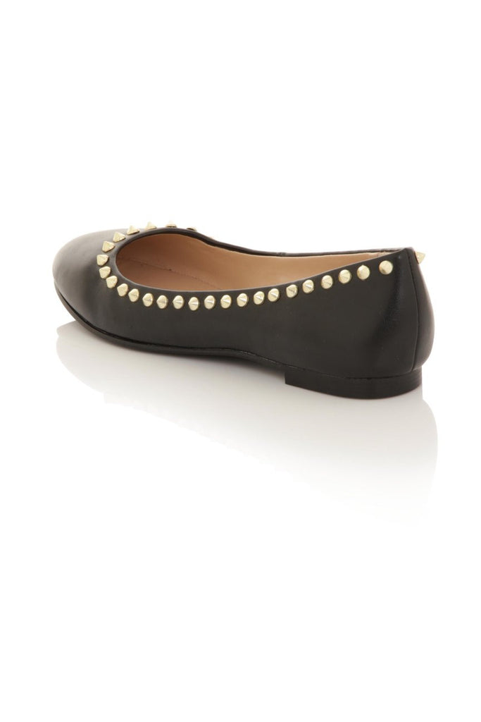 London Rebel | Milan Black Ballet Pumps | Back Three Quarter
