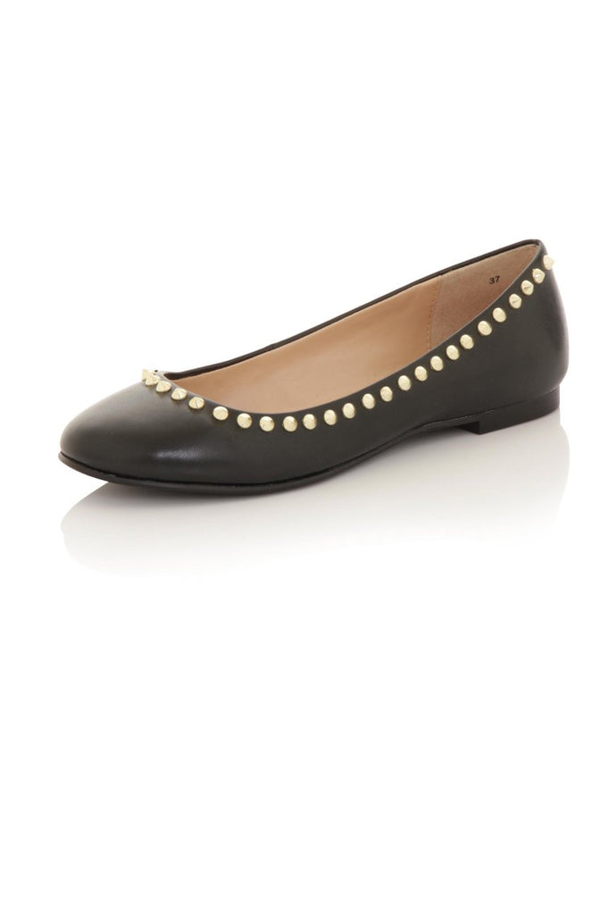 London Rebel | Milan Black Ballet Pumps | Front Three Quarter