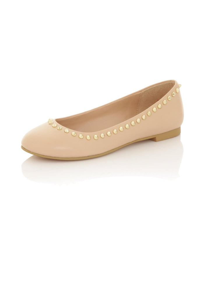 London Rebel | Milan Nude Ballet Pumps | Front Three Quarter