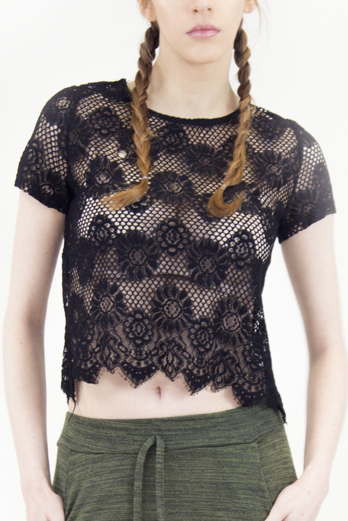 London Rebel | Milly Black Lace Crop Top | Lifestyle Image Close Up