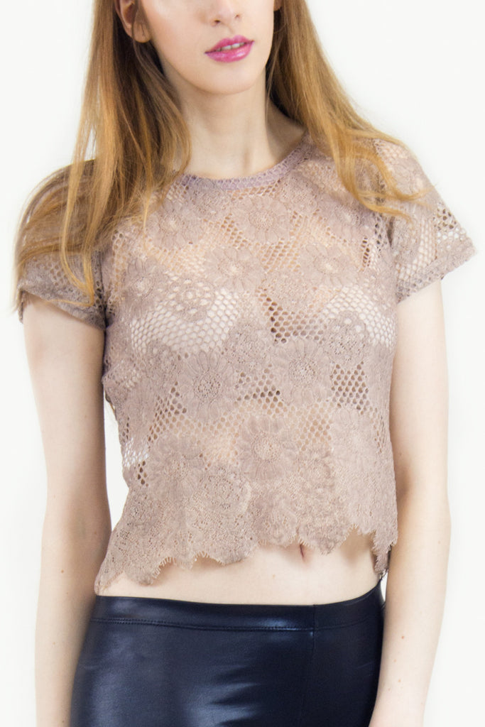 London Rebel | Milly Nude Lace Crop Top | Lifestyle Image Close Up