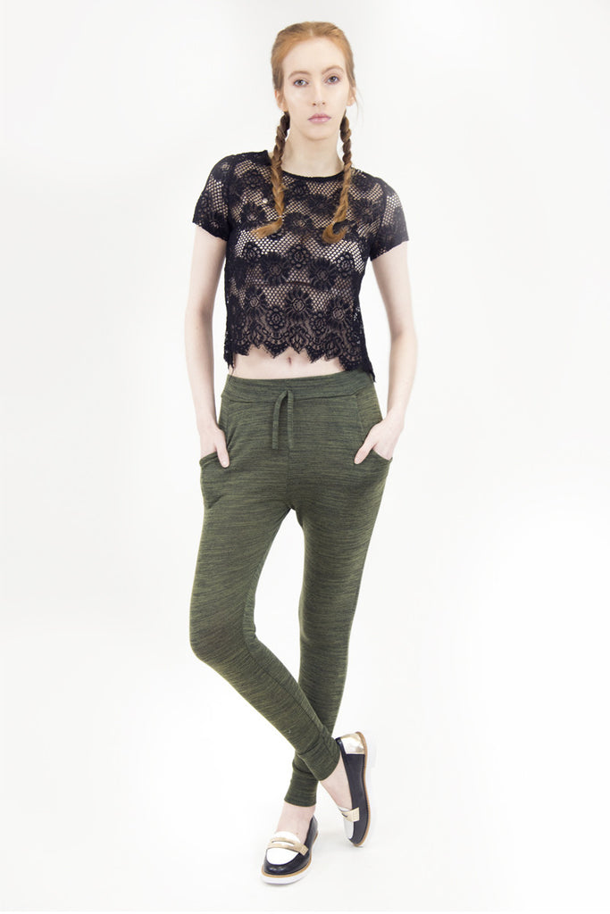 London Rebel | Milly Black Lace Crop Top | Lifestyle Image