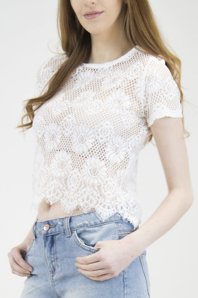 London Rebel | Milly White Lace Crop Top | Lifestyle Image Close Up