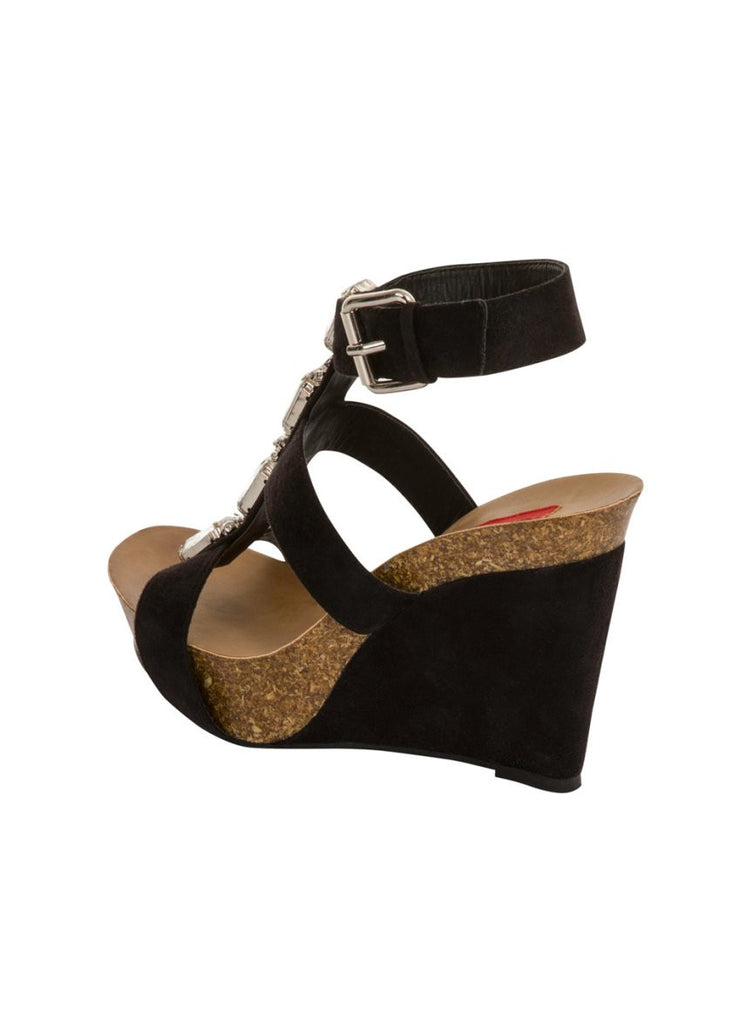 London Rebel | Peri Black Wedge Sandal | Back Three Quarter