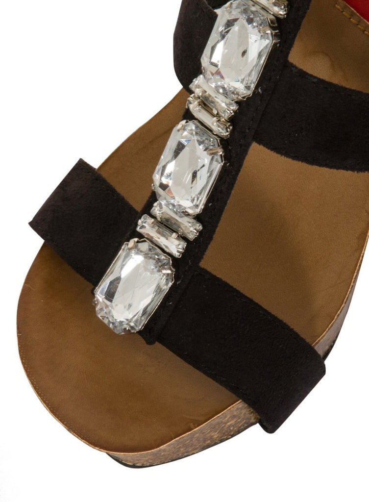 London Rebel | Peri Black Wedge Sandal | Front Three Quarter Close Up