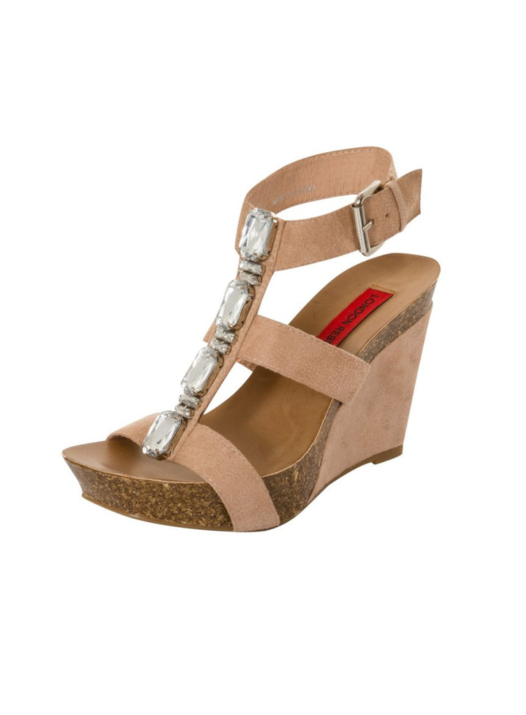 London Rebel | Peri Nude Wedge Sandal | Front Three Quarter